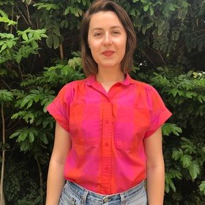 Vintage Pink Checked Blouse